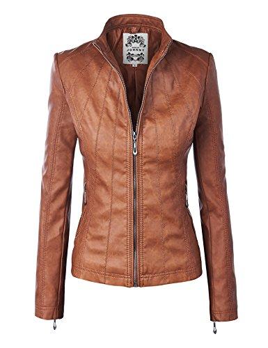 WJC877 Womens Panelled Faux Leather Moto Jacket S Camel