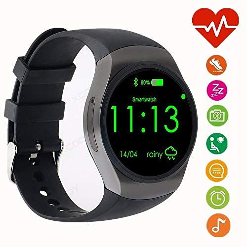 WADEO Bluetooth Smart Watch Phone, 1.3 Pulgadas IPS AMOLED Pantalla táctil Redonda, Soporte SIM TF Monitor para Dormir, Monitor de Ritmo cardíaco y podómetro para iOS/Android (Negro)