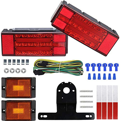 LIMICAR 2020 Submersible Trailer Light Kit, Upgrade LED Low Profile Brake Stop Turn Tail License Lights for Truck Marine RV Boat Camper Trailer Snowmobile Under 80 Inch, IP68 Waterproof
