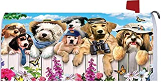 Custom Decor Dapper Dogs Welcome - Mailbox Makeover - Vinyl with Magnetic Strips for Steel Standard Rural Mailbox - Made in The USA - Copyright, Licensed and Trademarked Inc.