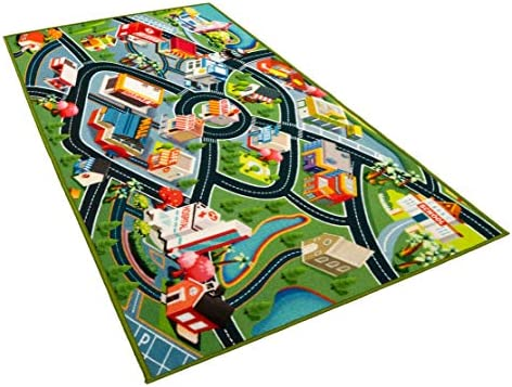 Kids Carpet Playmat Rug Fun Carpet City Map for Hot Wheels Track Racing and Toys Floor Mats product image