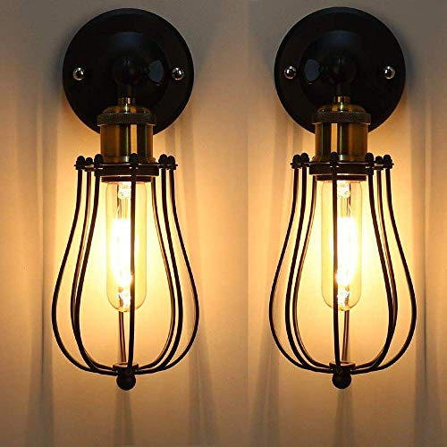 DFJU Lámpara de Pared Vintage Industrial Ajustable Metal E27 Base Aplique de Pared Jaula de Alambre Antiguo Estilo Retro rústico para Dormitorio Sala de Estar Mesa de Comedor
