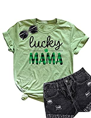 Ezcosplay Women Lucky Mama Letter Shirt Crew Neck Casual Cute Mom Mama T Shirts Green