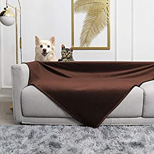 fuguitex Waterproof Dog Blanket for Bed Dog Bed Cover Starry Crystal Velvet Blanket Plush Fuzzy Cozy Pet Blanket for Dog Throw Blanket for Couch Sofa(52″ 80″,Chocolate+Navyblue)