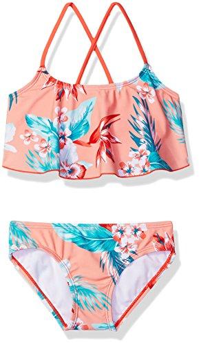 Kanu Surf Girls' Big Flounce Bikini Beach Sport 2 Piece Swimsuit, Alania Floral Coral, 10