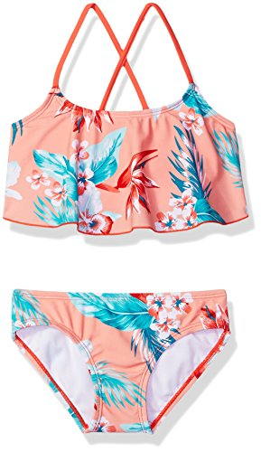 Kanu Surf Girls' Big Flounce Bikini Beach Sport 2 Piece Swimsuit, Alania Floral Coral, 10