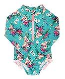 RuffleButts Girls Fancy Me Floral Long Sleeve One Piece Rash Guard - 4T