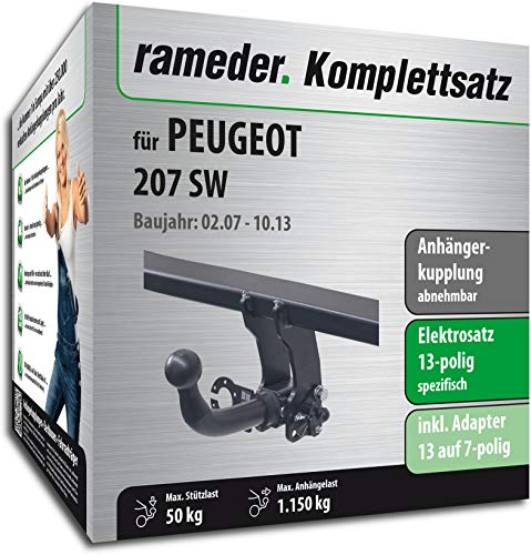 Rameder Komplettsatz, Anhängerkupplung abnehmbar + 13pol Elektrik für Peugeot 207 SW (117064-06433-1)