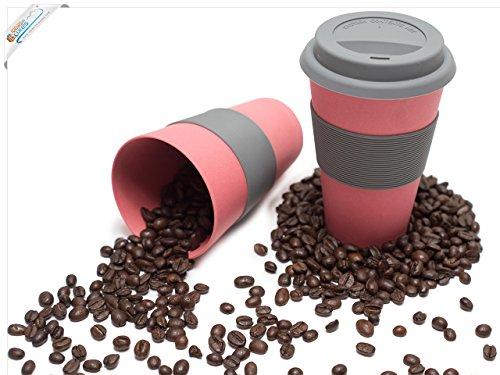 Magu Kaffeebecher To Go 330ml - Kaffee To Go Becher rot - Thermobecher Natur