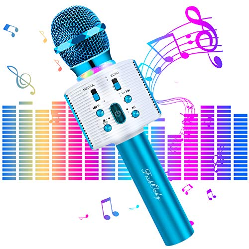 Karaoke Mikrofon Kinder, FISHOAKY 4 in 1 Drahtlose Bluetooth Mikrofon Tragbares Microphon mit LautsprecherAufnahme für Erwachsene und Kinder, Kompatibel mit Android IOS PC