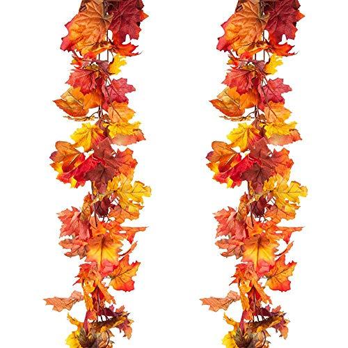 Kalolary Guirnalda artificial de hojas de arce para otoño, diseño de hojas falsas, para decoración de interiores y exteriores para decoración de jardín, boda, chimenea, fiesta de Navidad