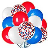 JOYYPOP 80Pcs Red White and Blue Latex Balloons with Confetti Balloons for Independence Day Patriotic Anniversary