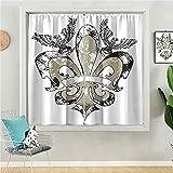 Cortina opaca de 63 pulgadas de largo cortina de ventana para dormitorio de los niños Aigles sur la fleur de lis emblème