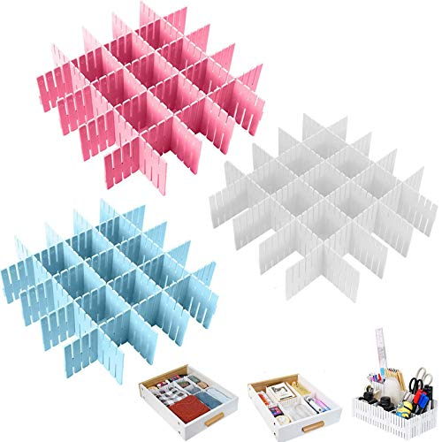 Ylinwtech 24 Piezas Divisores de Cajones de Rejilla,Separador de Armario de Plástico,Ajustable Plástico Organizador de Cajones,para Ropa Interior,Calcetines,Cinturón,Suministros de Oficina,3 Colores