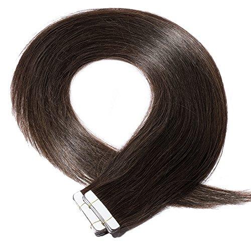 Tape Extensions Echthaar Haarverlängerung Tape in Klebeband Haar 20 Tressen x 4 cm breit 50g-50cm(#2 Dunkelbraun)