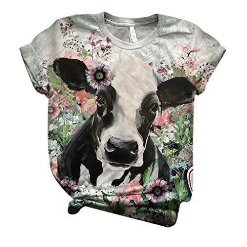 Dicomi Women Short Sleeve T-Shirt 3D Printed Plus Size Crewneck Tops Tee Blouse