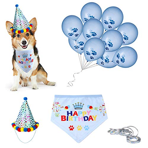 D-buy Dog Birthday Party Set -Dog Birthday Bandana Scarf, Cute Doggie Birthday Party Hat, 10 Paw Print Balloons and a roll of 400-inch Silver Ribbon-Great Birthday Party Supplies for Dogs, Pets