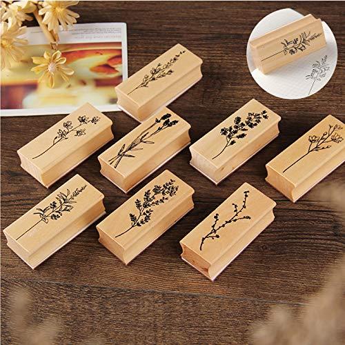 Holzstempelset zum Basteln, 8 PCS Gummi Holz Vintage Holzstempel, ideal zum Verzieren von Karten, Freundschaftsbüchern, für Lettering und Scrapbooking, Natürliche Pflanze Seal Set