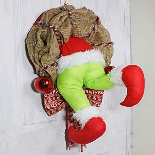 TOPofly Corona de Navidad, los 30 * 40cm ladrón Grinch de N
