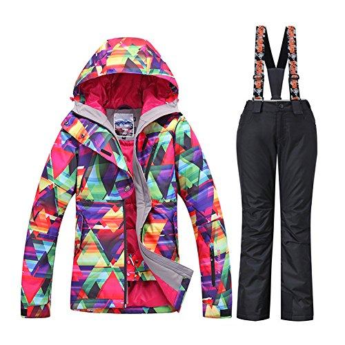 Women Winter Waterproof Windproof Insulatd Snowboarding Jackets Ski Snow Coats and Pants (Black-02, Large)