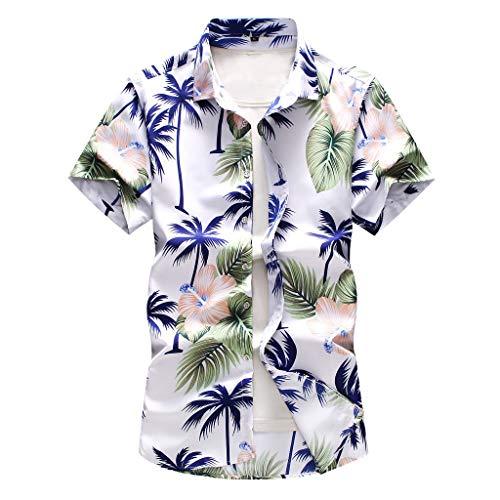 echo4745 Männer Übergröße Poloshirt Hawaii-Shirt Kurzarm Herren Große Größe T-Shirt Hawaii-Hemd Jungen Freizeithemden Tee Tops Blau Palmen Gedruckt(XXXXXL,Weiß)