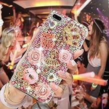 Mavis's Diary iPhone 7 Plus Case 5.5 inch 3D Handmade Bling Rhinestone Diamonds Luxury Pumpkin Carriage Golden Crown Pink Flower Dancing Girl Shiny Heart [Full Edge Protection] Hard PC Cover