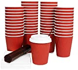 Galashield 12 Oz Disposable Coffee Cups with Lids 50 Pack Hot Paper Ripple Cup with Stirring Straws and Napkins