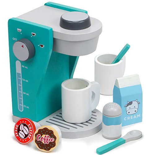 Imagination Generation Rise & Shine Pod Capsule Coffee Maker Playset, with 2 Cups, 2 Pods, 2 Spoons, 1 Coffee Maker, Cream & Sugar (9 Pcs)