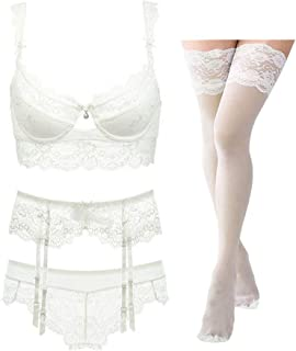 Women Push Up Embroidery Bras Set Lace Lingerie Bra and Panties and Socks 4 Piece