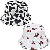XYIYI 2Pcs Cute Bucket Hat Beach Fisherman Hats for Women, Reversible Double-Side-Wear