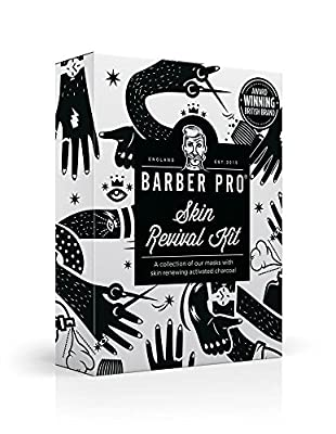 BARBER PRO Skin Revival Kit, Gentlemen's Sheet Mask, Under Eye Mask, Foaming Mask & Face Putty (4 Masks) | Christmas Gift Set | Perfect for Mens Grooming | Best Grooming Gift Set