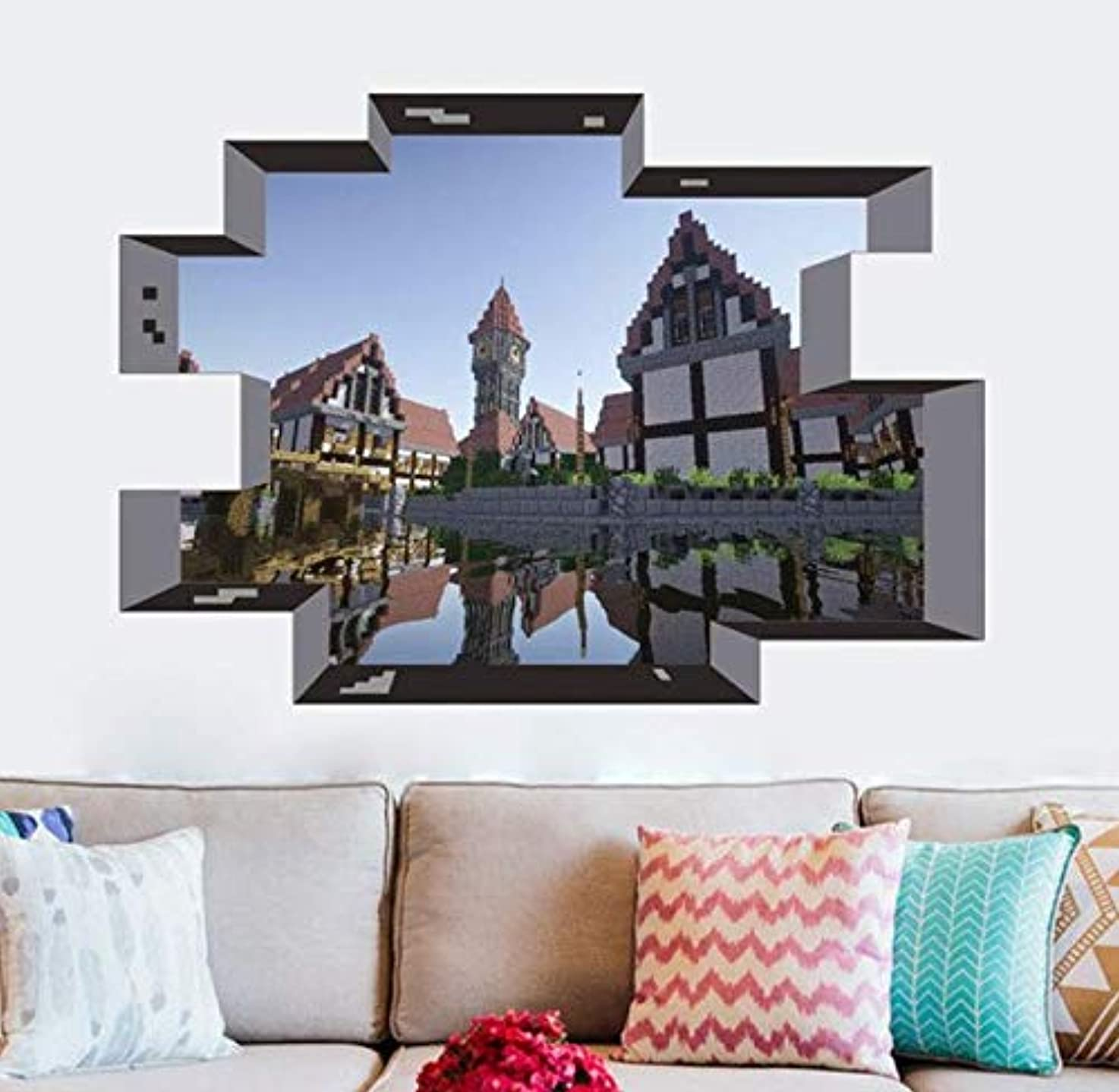 Mosaic Game Theme Wall Stickers for Kids Room Home Decoration 3D Window PVC Steve Mural Art DIY Boys Wall Decal Poster (14)