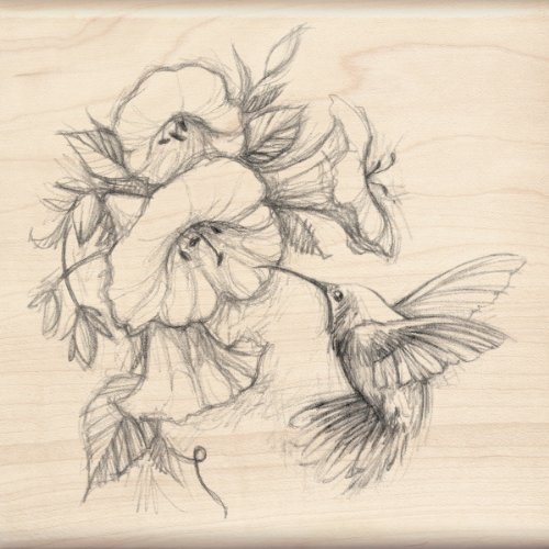 Inkadinkado Humming Bird and Flower Wood Stamp for Arts and Crafts, 4.5'' W x 4.5'' L