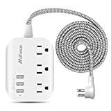 USB Power Strip, ETL Listed Flat Plug Power Strip Extension Cord with 3 Outlets 3 USB Ports(Smart 3.1A), 5ft Braided Power Cord, Compact for Cruise Ship, Travel, Home, Office