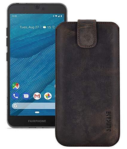 Suncase Echt Leder Hülle kompatibel mit Fairphone 3+   Fairphone 3 Plus Tasche (passend nur für das Gerät OHNE Bumper) antik braun