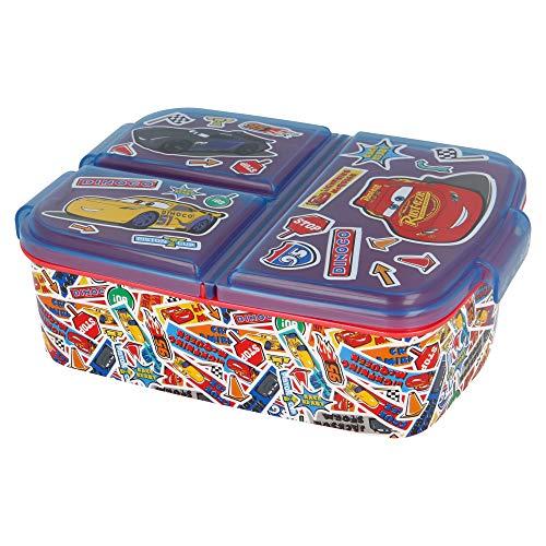 Stor Cars | Caja de Almuerzo con 3 Compartimentos - Fiambrera Infantil para Colegio - lonchera para niños