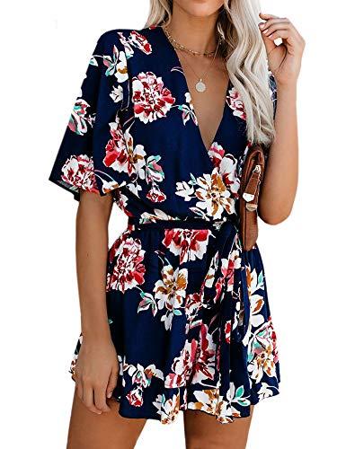 AIMCOO Women's Summer Deep V-Neck Floral Print Romper Ruffle Hem Half Flared Sleeve Jumpsuits Waist Tie Casual Short Rompers