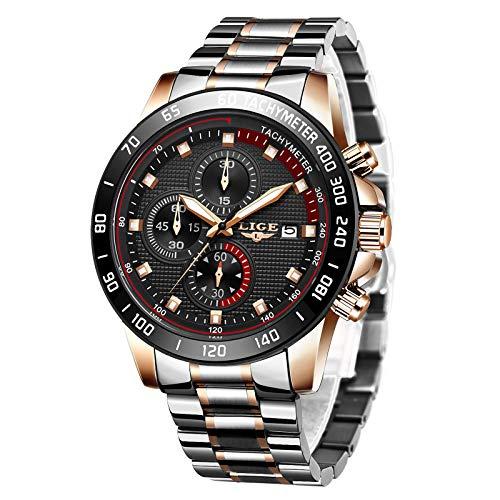 LIGE Herren Uhren Wasserdichter Sport Chronograph Analoge Quarzuhr Edelstahl Business Armband Armbanduhr Silber Herrenuhr
