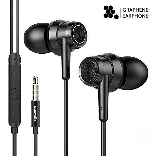 In-Ear Kopfhörer, BlitzWolf Graphene HiFi Ohrhörer Stereo Headset Noise Isolating Headphones inklusive Mikrofon für iPhone, Android, MP3 & Weitere mit 3,5mm Klinkenstecker(Schwarz)