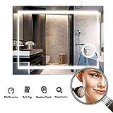LUVODI Miroir Salle Bain 80x60 cm avec Éclairage Intégré Miroir Mural Lumineux Anti-buée Grossissant 3X avec Lumière Blanche...