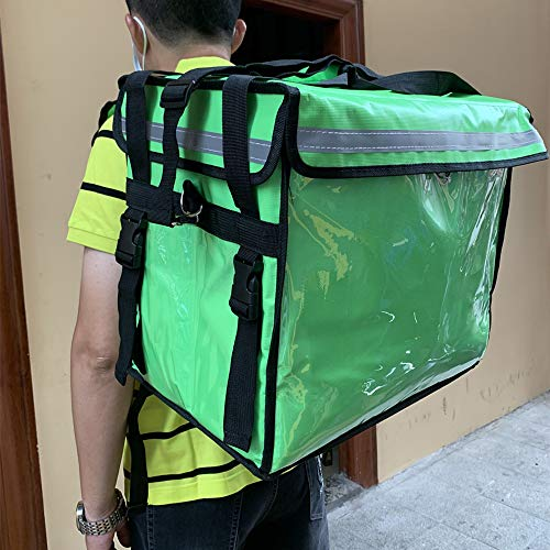 Insulated Food Delivery Backpack, Portable Insulated Cooler Bag, Pizza Delivery Thermal Backpack, Water Resistant Commercial Grade Food Delivery Bag Durable for Uber Eats, Restaurant, Camping 44cm x 29cm x 37cm (Green)
