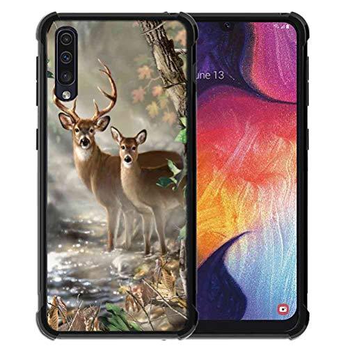 ABLOOMBOX Schutzhülle für Samsung Galaxy A50S/A30S, Vector Forest Deer Muster, stoßfeste weiche Stoßstange, schlanke Gummihülle mit verstärktem für Galaxy A50S/A30S/A50 Hülle