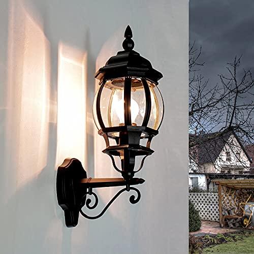 Aplique rústico de exterior Brest en negro / IP43 E27 hasta 60W / Aplique en forma de linterna para exterior resistente a la intemperie para patio y jardín