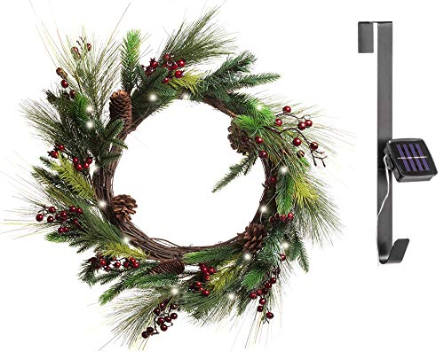 Red Co. 22 Inch Light-Up Christmas Wreath with Pinecones & Pine, Solar Powered LED Lights