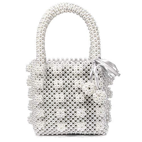 LIXILI Bolso de Noche de Perlas de Perlas con Cuentas de Tejido Hecho a Mano para Las Mujeres, Bolso de Banquete de Fiesta de Fiesta de Bodas
