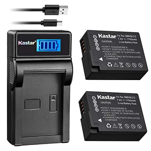 Kastar Battery (X2) & Slim LCD Charger for Panasonic DMW-BLC12, DMW-BLC12E, DMW-BLC12PP and Panasonic Lumix DMC-FZ200, DMC-FZ1000, DMC-G5, DMC-G6, DMC-GH2 Digital Cameras -  CH-LCD3-2B-BLC12