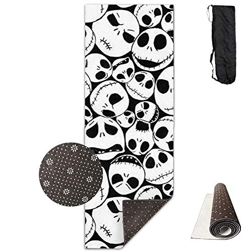 Yoga Mat Eco-Friendly Anti Slip Yoga Mat Cute Black Christmas Skull Yoga Towel Carrying Strap & Bag Non-Toxic Printedfor Exercise,Yoga and Pilates 71 X 24 Inch