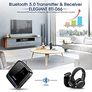 Bluetooth 5.0 Transmitter Receiver Wireless Audio Adapter Pair 2 Headphones at Once aptX HD/aptX LL Built-in Microphone LED Indicator, Optical TOSLINK 3.5mm AUX RCA for TV Home Stereo System