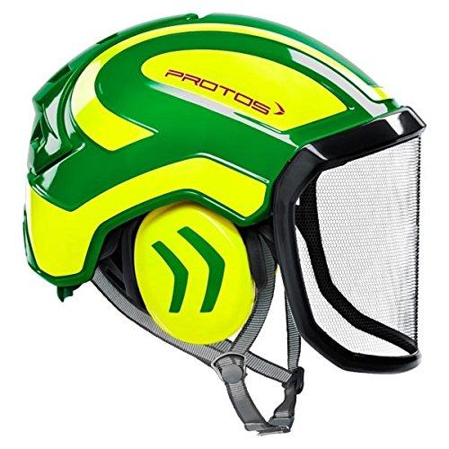 Protos Casque de sécurité intégral arborist avec protection auditive, équipement : visière fine, couleur : vert/jaune.