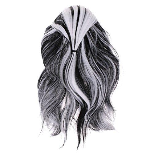 joyMerit Moda Negro Blanco Gris Peluca Larga Y Rizada Ondulada Fiesta de Navidad Vestido Elegante Disfraz Cosplay Peluca Mujer Accesorio para El Cabello 50cm